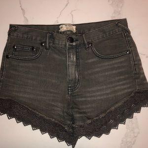 Free People Charcoal Denim Shorts